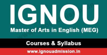 IGNOU MA English Syllabus & Courses