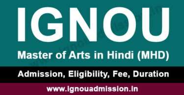 IGNOU MA Hindi Admission