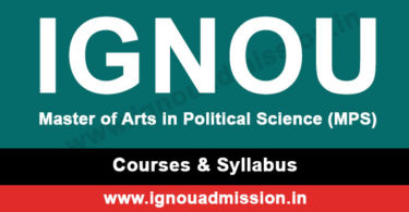 IGNOU MA Political Science Syllabus