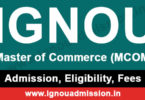 Apply for IGNOU MCOM Admission in Jan & July session
