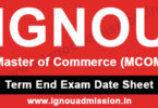 IGNOU M.Com Date Sheet