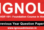 IGNOU BHDF 101 Question Paper