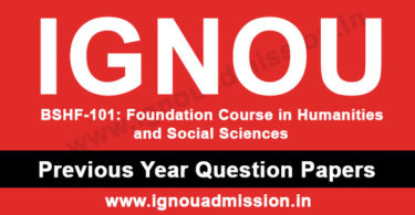 IGNOU BSHF 101 Question Paper