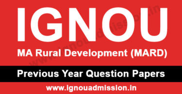 IGNOU MA Rural Development Question Paper