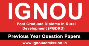 IGNOU PGDRD Question Paper