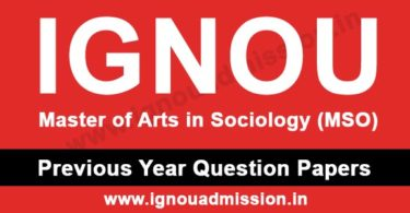 IGNOU MA Sociology Previous Year Question Paper