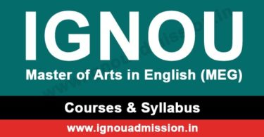IGNOU MA English Syllabus & Courses