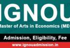 IGNOU MA Economics Admission