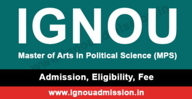 IGNOU MA Political Science Admission