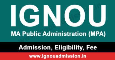 IGNOU MA Public Administration Admission