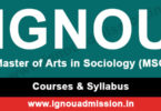 ignou ma sociology courses & syllabus