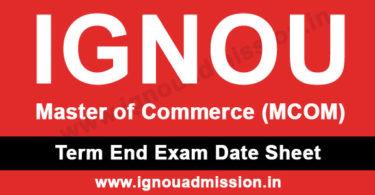 IGNOU M.Com Date Sheet
