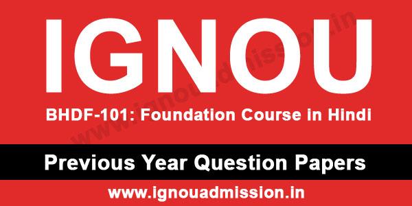 IGNOU BHDF 101 Question Paper