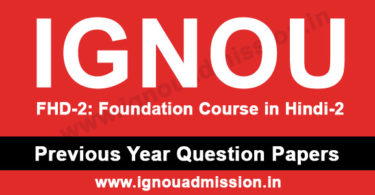 IGNOU FHD 2 Question Paper