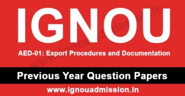 IGNOU AED 1 Question Paper