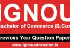 IGNOU BCOM Question Paper