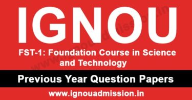 IGNOU FST 1 Question Paper