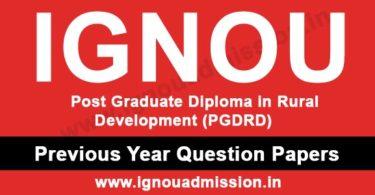 IGNOU PGDRD Question Paper